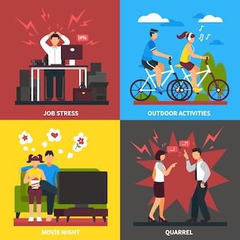 Stress and relaxation flat design concept