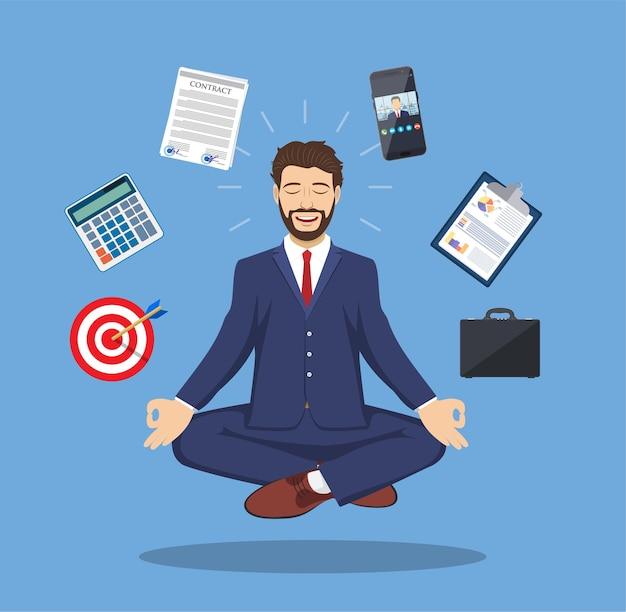 ストレス解消と問題解決のコンセプト、蓮のポーズでビジネスについて考える男性