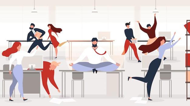 Снятие стресса в офисе на рабочем месте векторный концепт