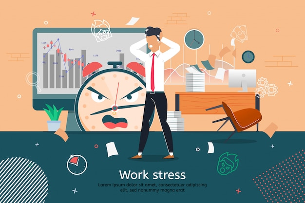 Stress and troubles at office work   banner