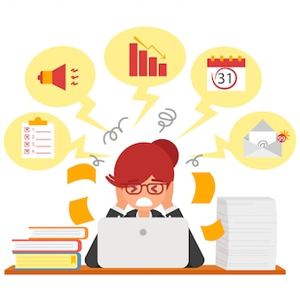 Stress at work concept flat illustration