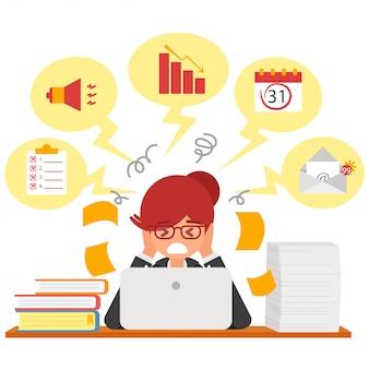 Stress at work concept flat illustration