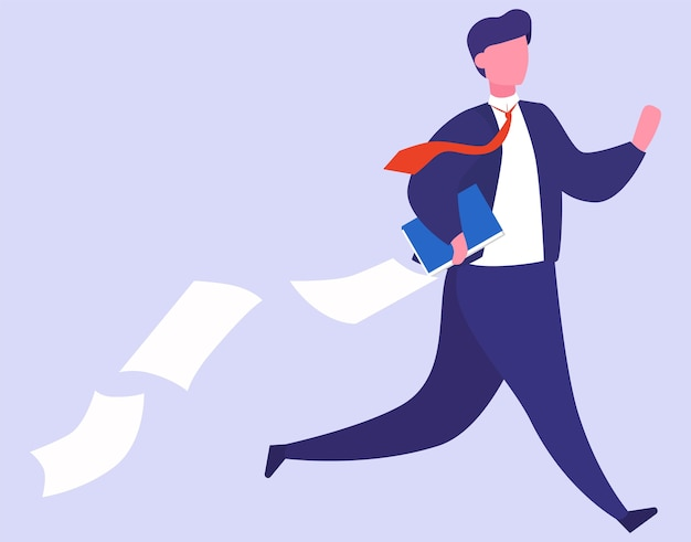 Stress at work and deadline concept. idea of many work and few time. employee in a hurry. panic and stress in office. people with business problems.   illustration