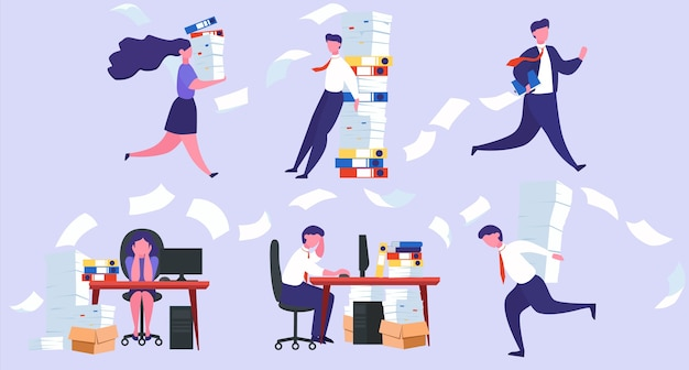 Stress at work and deadline concept. idea of many work and few time. employee in a hurry. panic and stress in office. set of people with business problems.  illustration
