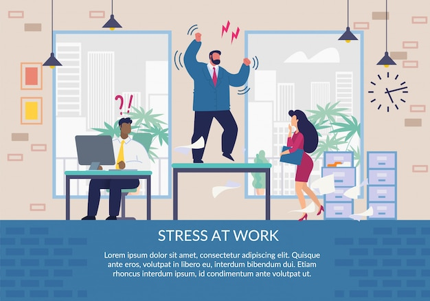 Stress at work poster design and cartoon character