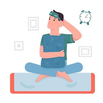 불면증으로 고통받는 스트레스 청년