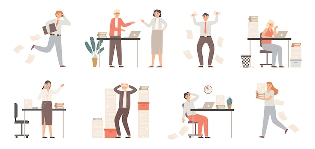 Stressed business people. busy office workers, angry boss in panic and work chaos