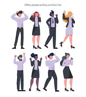 自分の髪を抜くビジネスマンを強調しました。女性と男性のキャラクターが怒りで叫んでいます。締め切りとストレスの多い生活。