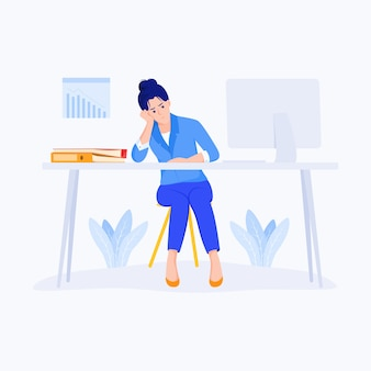 Stressed business woman character sitting at desk in office and holding hand on head.