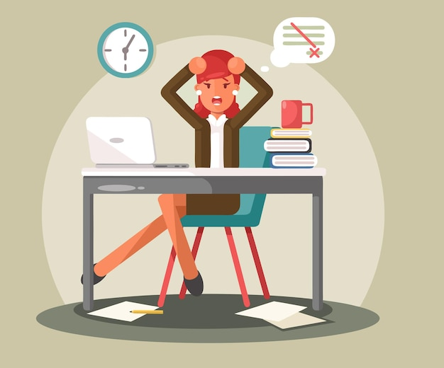 Stressed business woman in office work place. vector flat illustration