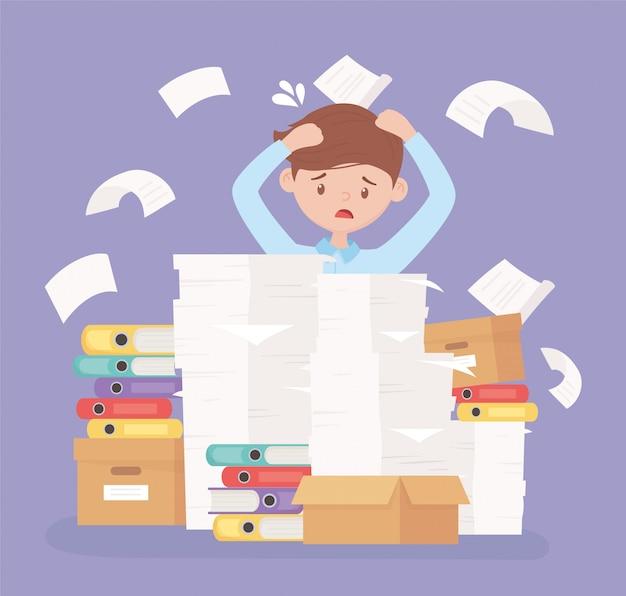 Stressed businessman frustration office work pile paper