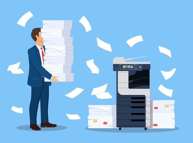 Stressed businessman holds pile documents.