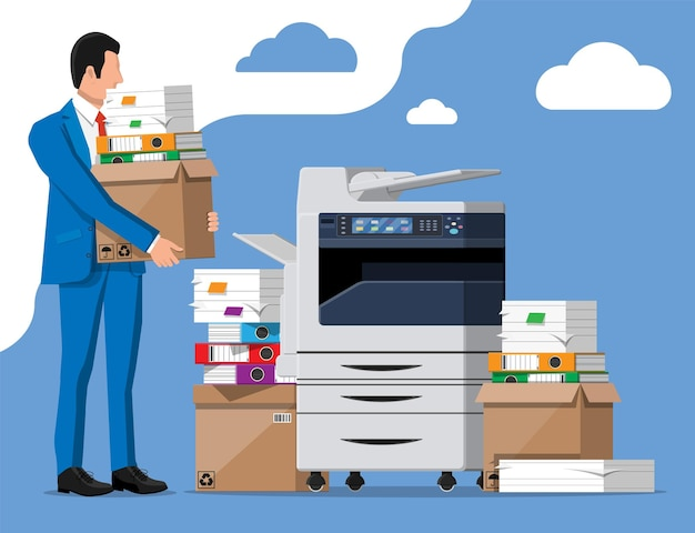 Stressed businessman holds pile of office documents. overworked business man with stacks of papers. office printer machine. stress at work. bureaucracy, paperwork, big data. flat vector illustration