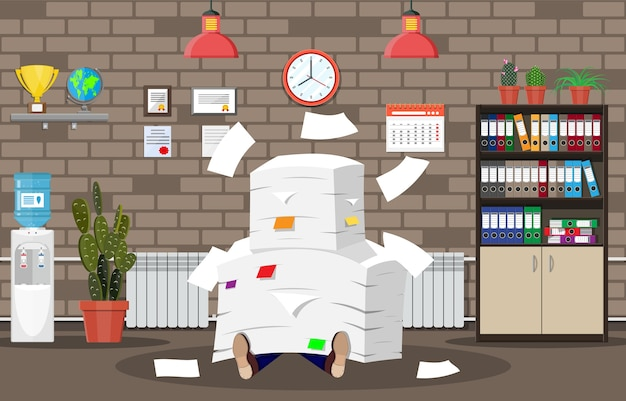 Stressed businessman under pile of office papers and documents