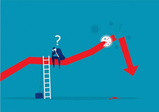 세분화 된 통계 화살표와 사업가 강조