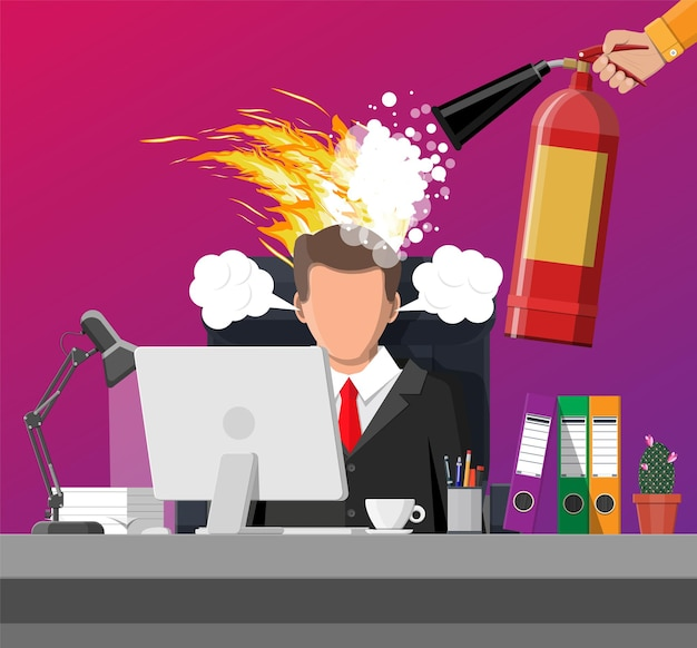 Stressed businessman with hair on fire gets help from man with extinguisher. deadline, late with working task. overworked stressed office worker. time management.