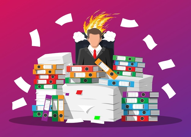 Stressed businessman with hair on fire. man in pile of office papers and documents. stress at work, deadline. overworked. file folders. carton boxes. bureaucracy, paperwork. flat vector illustration