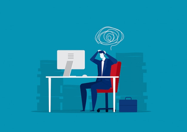多くの論文の背景で一生懸命働くビジネスマンを強調