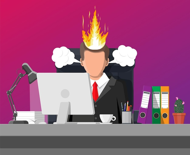 Stressed businessman on workplace tired to work on computer. business man head in fire. deadline, late with working task. overworked stressed office worker. time management. flat vector illustration