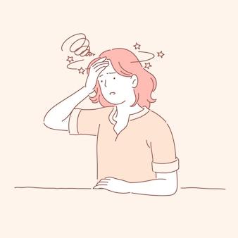 ラインスタイルの生姜髪のストレスの多い女の子