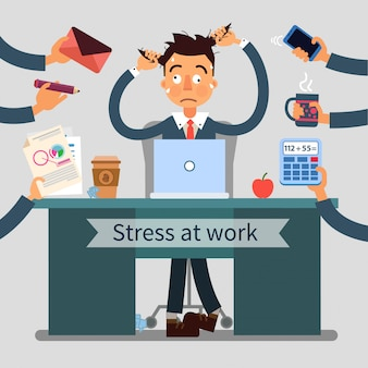 Stressed man at work pulls his hair with many hands added different tasks