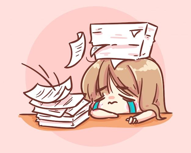 Подчеркнутая офисная девушка, работающая за столом с документами, мультяшная иллюстрация premium векторы
