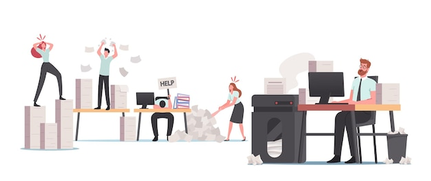Stressed office people in paper garbage, characters bureaucracy, busy employees deadline rush, burnout. tiny clerks at huge documentation piles and heap documents folders. cartoon vector illustration