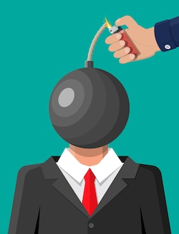 爆弾の頭でビジネスマンを強調した。脳が燃えている過労の疲れ果てた男。仕事でやけどを負った人。感情的なストレス。燃える頭を持つスーツの男。フラットスタイルのベクトル図