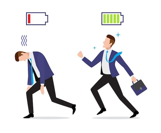 充電と放電のバッテリーアイコンとブリーフケースが設定されたストレスの多い過労で元気なビジネスマンが仕事に行く