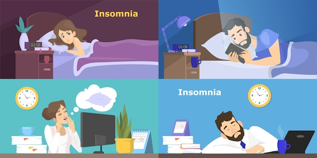 Stressed people suffering from the insomnia set. woman and man with no sleep at night. tired character at work in office.   illustration