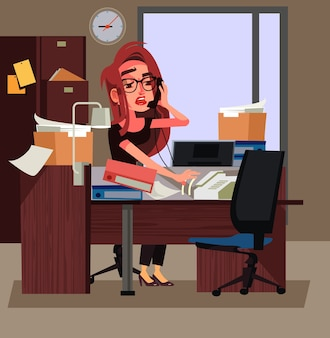Stressed tired office worker business woman hard working. work days vector