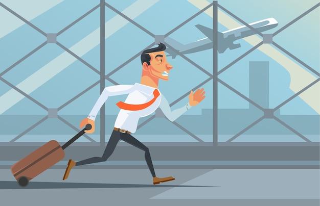 飛行機を追いかけて不幸なビジネスマンのサラリーマンのキャラクターを強調
