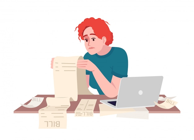 Stressed woman studying bill semi flat illustration