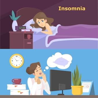 不眠症セットに苦しんでいる女性を強調しました。夜眠れない少女。オフィスでの仕事で疲れたキャラクター。図