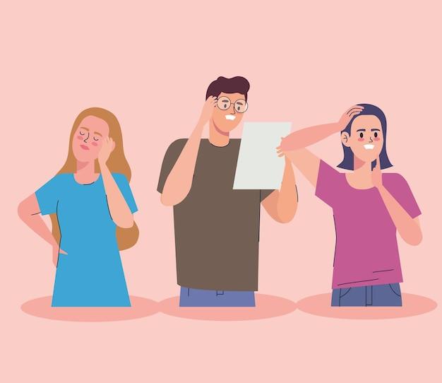 스트레스를 받는 여성과 남성