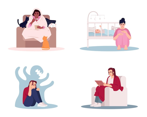 스트레스 여성 평면 벡터 일러스트 세트입니다. 슬픈 숙녀는 만화 캐릭터 키트를 격리했습니다. 심리적 건강 문제. 정서적 섭식, 산후 우울증, 정신 장애 및 외로움