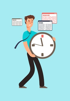 Stressed worker holding clock with running out time.