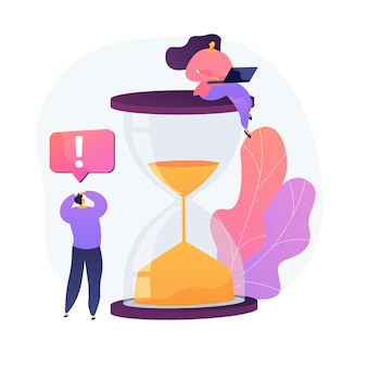 Stressed workflow. woman with laptop sitting on hourglass cartoon character. lack of time, programmers team, teamwork process. coworking project. vector isolated concept metaphor illustration