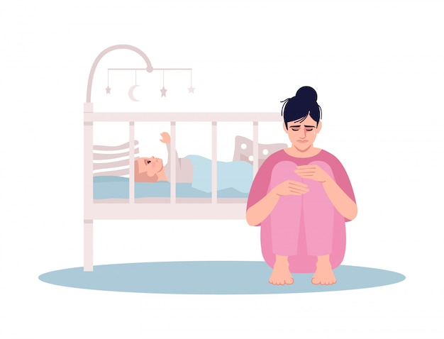 Stressed young mother semi flat illustration