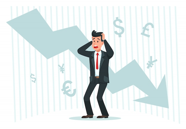 Stressful businessman. falling profits, down arrow chart graph and bankrupt finance fall vector illustration