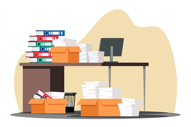 Напряженная блокировка документов на столе в офисе