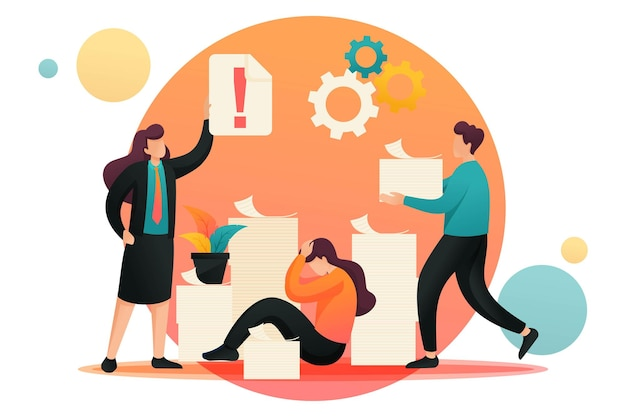 직장에서의 스트레스 상황, 회계 보고 마감. 플랫 2d 캐릭터. 웹 디자인에 대한 개념입니다.