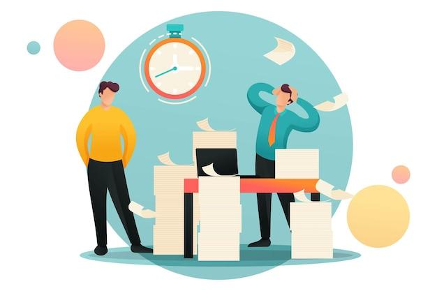 스트레스를 받는 상황, 보고서 제출 마감일, 충격에 빠진 회사 직원. 플랫 2d 캐릭터. 웹 디자인에 대한 개념입니다.