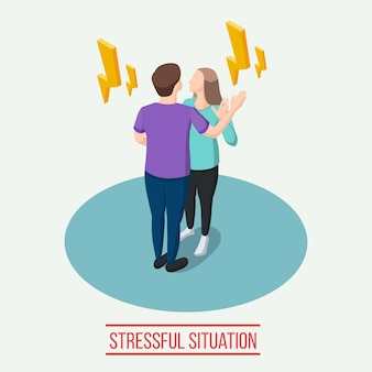 Composizione isometrica in una situazione stressante con lampi gialli intorno all'uomo e alla donna durante l'illustrazione vettoriale della comunicazione emotiva