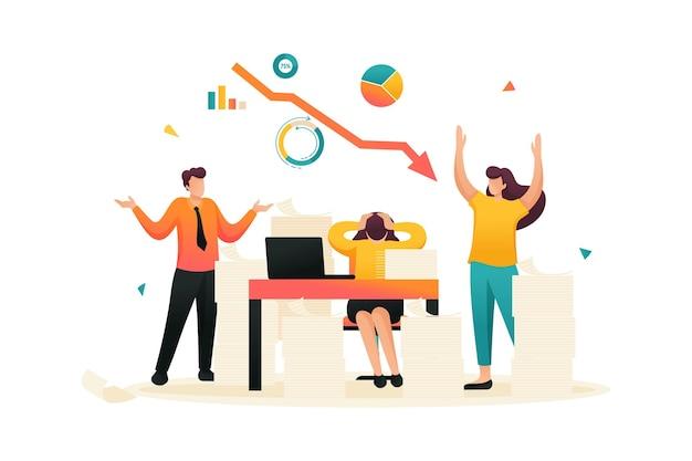 株価下落というストレスの多い状況、同社の従業員はパニックに陥っている。フラットな2dキャラクター。ウェブデザインのコンセプト。