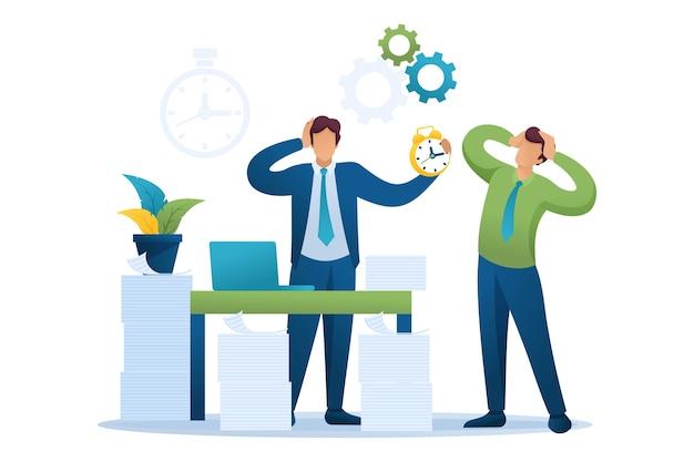 オフィスのストレスの多い状況、納税の時期。