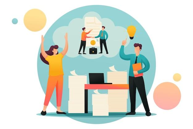 스트레스 상황, 회사 직원의 문제 해결. 플랫 2d 캐릭터. 웹 디자인에 대한 개념입니다.