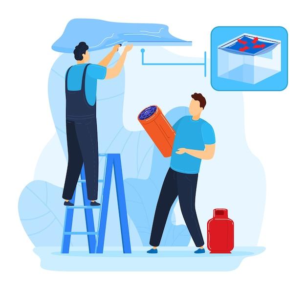 Конструкция натяжного потолка, рабочий в комнате иллюстрации. профессиональный рабочий инструмент, здание дома, изолированные на белом. люди персонажа используют ручную технику, мастер по интерьеру квартиры.