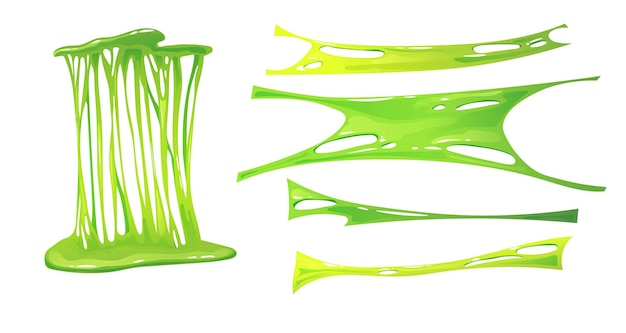 Stretched green slime. kids' sensory toy.