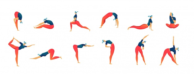 Stretching exercises people set of isolated  illustration, man and woman workout and fitness.